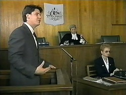 Joe Mangel, Judge Latimer, Court Officer in Neighbours Episode 1345