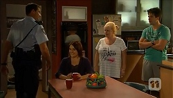 Matt Turner, Naomi Canning, Sheila Canning, Chris Pappas in Neighbours Episode 6882