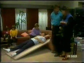 Lucy Robinson, Vicki Gibbons, Daphne Clarke, Des Clarke, Tony Chapman, Zoe Davis in Neighbours Episode 0300