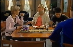Sindi Watts, Janelle Timmins, Stingray Timmins, Toadie Rebecchi in Neighbours Episode 4610