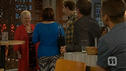 Sheila Canning, Naomi Canning, Kyle Canning, Paul Robinson, Mark Brennan in Neighbours Episode 6958