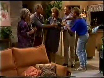 Helen Daniels, Charlene Mitchell, Jim Robinson, Madge Bishop, Harold Bishop, Scott Robinson in Neighbours Episode 0459