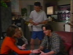 Libby Kennedy, Louise Carpenter (Lolly), Martin Pike, Darren Stark in Neighbours Episode 2964