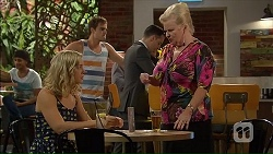 Georgia Brooks, Kyle Canning, Nick Petrides, Sheila Canning in Neighbours Episode 7064
