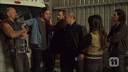 Michael Coluzzi, Tyler Brennan, Dennis Dimato, Michelle Kim, Joey Dimato in Neighbours Episode 7167