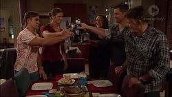Aaron Brennan, Tyler Brennan, Paige Novak, Mark Brennan, Russell Brennan in Neighbours Episode 7183