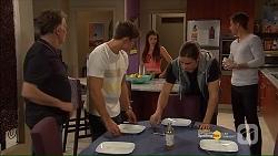 Russell Brennan, Aaron Brennan, Paige Novak, Tyler Brennan, Mark Brennan in Neighbours Episode 7186