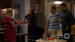 Sheila Canning, Paige Novak, Mark Brennan, Aaron Brennan, Nate Kinski in Neighbours Episode 7189