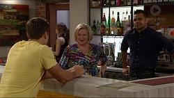 Aaron Brennan, Sheila Canning, Nate Kinski in Neighbours Episode 7200