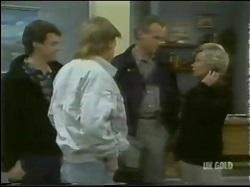 Paul Robinson, Scott Robinson, Jim Robinson, Helen Daniels in Neighbours Episode 0302