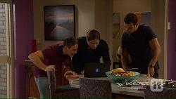 Aaron Brennan, Tyler Brennan, Nate Kinski in Neighbours Episode 7215