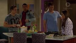 Aaron Brennan, Nate Kinski, Mark Brennan, Paige Novak in Neighbours Episode 7234