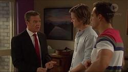 Paul Robinson, Daniel Robinson, Aaron Brennan in Neighbours Episode 7243