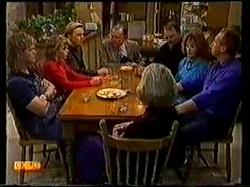 Henry Ramsay, Charlene Robinson, Scott Robinson, Dan Ramsay, Harold Bishop, Madge Bishop, Jim Robinson, Helen Daniels in Neighbours Episode 0770