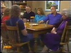 Scott Robinson, Charlene Robinson, Henry Ramsay, Harold Bishop, Madge Bishop, Jim Robinson, Helen Daniels in Neighbours Episode 0771