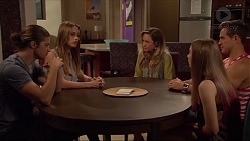 Tyler Brennan, Courtney Grixti, Sonya Mitchell, Piper Willis, Aaron Brennan in Neighbours Episode 7300