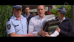 Police Officer #1, Mark Brennan, Paul Robinson, Police Officer #2 in Neighbours Episode 7337