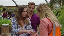 Amy Williams, Aaron Brennan, Sonya Rebecchi in Neighbours Episode 7341