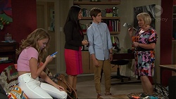 Xanthe Canning, Sarah Beaumont, Angus Beaumont-Hannay, Sheila Canning in Neighbours Episode 7358