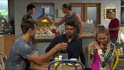 Tyler Brennan, Aaron Brennan, Nate Kinski, Xanthe Canning in Neighbours Episode 7360