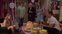 Xanthe Canning, Angus Beaumont-Hannay, Sheila Canning, Amy Williams, Aaron Brennan in Neighbours Episode 7368