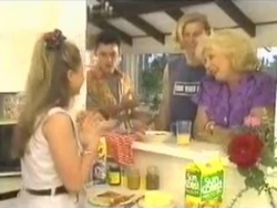 Lucy Robinson, Josh Anderson, Brad Willis, Madge Bishop in Neighbours Episode 1584