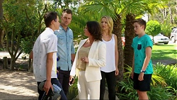 Archie Quill, Mark Brennan, Julie Quill, Steph Scully, Charlie Hoyland in Neighbours Episode 7374