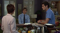 Susan Kennedy, Angus Beaumont-Hannay, Ben Kirk in Neighbours Episode 7383