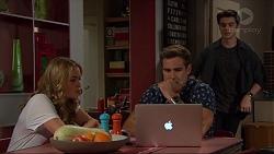 Xanthe Canning, Aaron Brennan, Ben Kirk in Neighbours Episode 7384