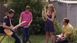 Ben Kirk, Angus Beaumont-Hannay, Xanthe Canning, Aaron Brennan in Neighbours Episode 7389