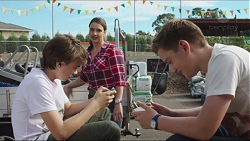 Jimmy Williams, Amy Williams, Charlie Hoyland in Neighbours Episode 7398