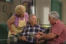 Valda Sheergold, Harold Bishop, Lou Carpenter in Neighbours Episode 4019