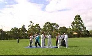 Serena Bishop, Stingray Timmins, Janae Timmins, Boyd Hoyland in Neighbours Episode 4750