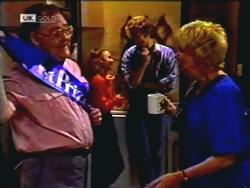 Harold Bishop, Gemma Ramsay, Adam Willis, Madge Bishop in Neighbours Episode 1409