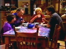 Toby Mangel, Harold Bishop, Madge Bishop, Joe Mangel in Neighbours Episode 1411