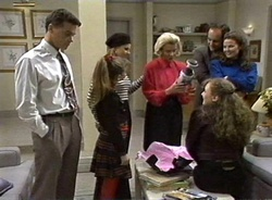 Paul Robinson, Hannah Martin, Lucy Robinson, Helen Daniels, Philip Martin, Julie Robinson, Debbie Martin in Neighbours Episode 2001