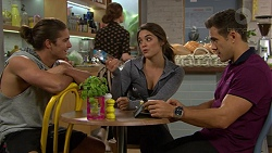 Tyler Brennan, Paige Smith, Aaron Brennan in Neighbours Episode 7442