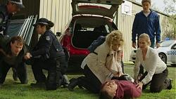 Ari Philcox, Policewoman, Belinda Bell, Mark Brennan, Ellen Crabb, Charlie Hoyland in Neighbours Episode 7447