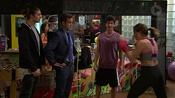 Tyler Brennan, Aaron Brennan, Dustin Oliver, Paige Smith in Neighbours Episode 7449