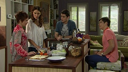 Susan Kennedy, Elly Conway, Ben Kirk, Angus Beaumont-Hannay in Neighbours Episode 7464