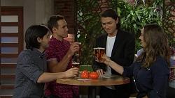 David Tanaka, Aaron Brennan, Leo Tanaka, Amy Williams in Neighbours Episode 7464