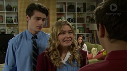 Ben Kirk, Xanthe Canning, Elly Conway, Angus Beaumont-Hannay in Neighbours Episode 7489