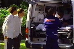 Paul McClain, Tad Reeves, Madge Bishop in Neighbours Episode 3739