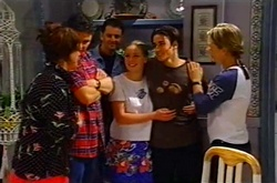 Lyn Scully, Jack Scully, Larry Woodhouse (Woody), Michelle Scully, Jack Scully, Steph Scully in Neighbours Episode 3747