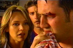 Steph Scully, Drew Kirk, Larry Woodhouse (Woody) in Neighbours Episode 3752