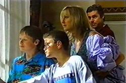 Leo Hancock, Aleks Rama, Maggie Hancock, Evan Hancock in Neighbours Episode 3753