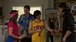 Amy Williams, Gary Canning, David Tanaka, Piper Willis, Leo Tanaka in Neighbours Episode 7493