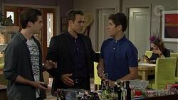 Ben Kirk, Aaron Brennan, Angus Beaumont-Hannay, Elly Conway in Neighbours Episode 7495