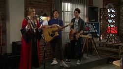 Sonya Mitchell, Angus Beaumont-Hannay, Ben Kirk in Neighbours Episode 7495