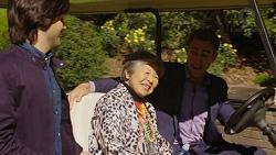 David Tanaka, Kazuko Sano, Aaron Brennan in Neighbours Episode 7498